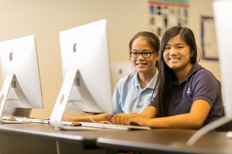 Keswick Christian School_Academics_Technology_Students working at Apple Desktop Computer