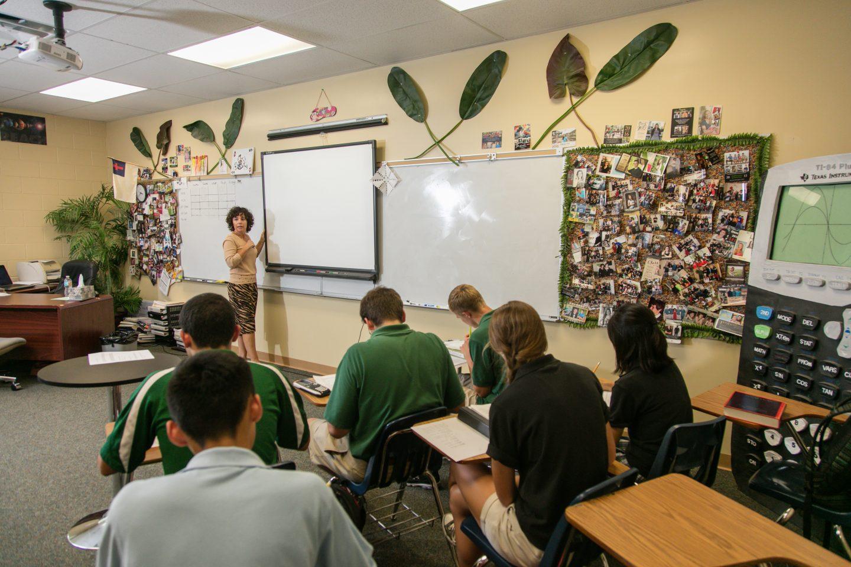 Keswick Christian School_Academics_Teacher giving a lesson to upper school students